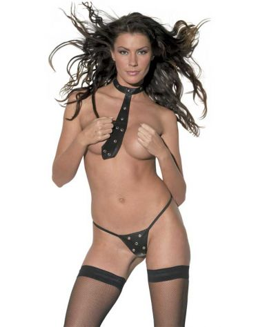 Leather tie G string set.