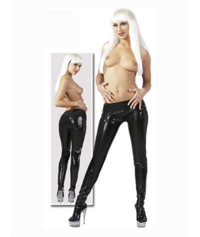 Latex παντελόνι με πέλματα. Μαύρο