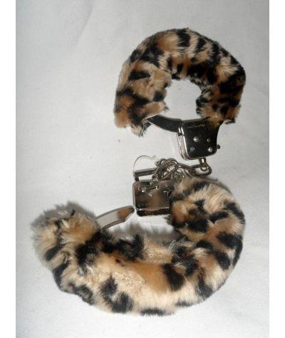 Handcuffs leopard. Μεταλλικές χειροπέδες με  γούνα leopard.