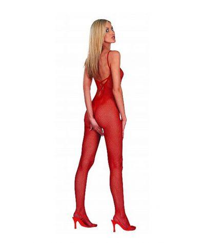 Catsuit, ολόσωμη δικτυωτή  φόρμα με ανοίγματα. Κόκκινο