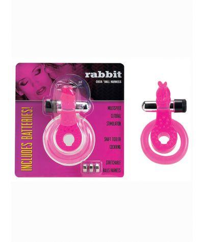 Cock & Ball Harness Rabbit pink.Δαχτυλίδι με δόνηση.