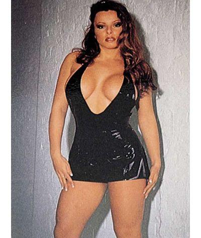 Λάτεξ μίνι φόρεμα. Μαύρο