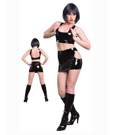 Latex  minirock. Μίνι φούστα από λάτεξ. Μαύρο