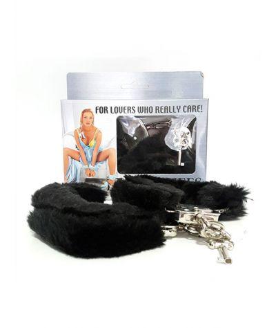Handcuffs black. Μεταλλικές χειροπέδες με μαύρη γούνα.