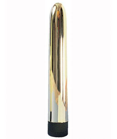 Slim-Line Vibrator gold 17,00cm. Λεπτός κοκκάλινος δονητής.